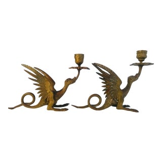 Dragon Winged Beast Gothic Brass Candlesticks - a Pair For Sale