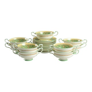 1950s Paragon Corinthian Green Footed Cream Soup Bowl & Saucer Set - Set of 9 For Sale