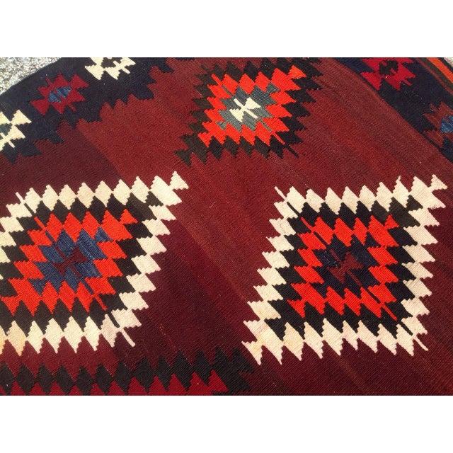 Textile Vintage Turkish Kilim Rug - 5′6″ × 8′4″ For Sale - Image 7 of 8