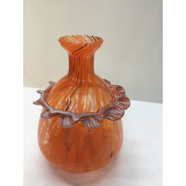 Orange Vintage Murano Glass Orange Vase For Sale - Image 8 of 9