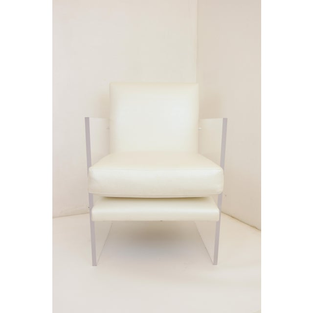 Vintage Mid Century Modern Clear Lucite & White Upholstered Arm Chair For Sale - Image 11 of 13