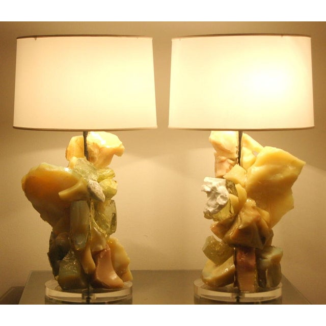 Glass Rock Table Lamps by Swank Lighting Yellow Orange For Sale - Image 10 of 10