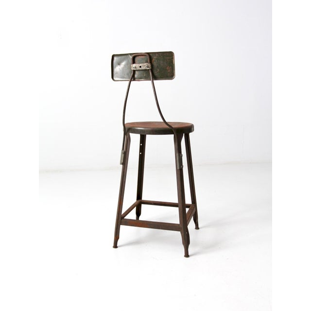 Hallowell Vintage Industrial Drafting Stool For Sale - Image 4 of 12