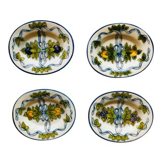 Italian Hand Painted Small Oval Plates - Set of 4 For Sale