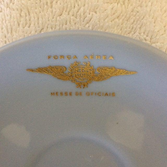 "Very Rare Vintage Set of Vista Alegre Impact Baby Blue Portuguese ""Forca Aerea Messe De Oficiais"" Demitasse Cups & Saucers -Set of 10 For Sale - Image 9 of 13"