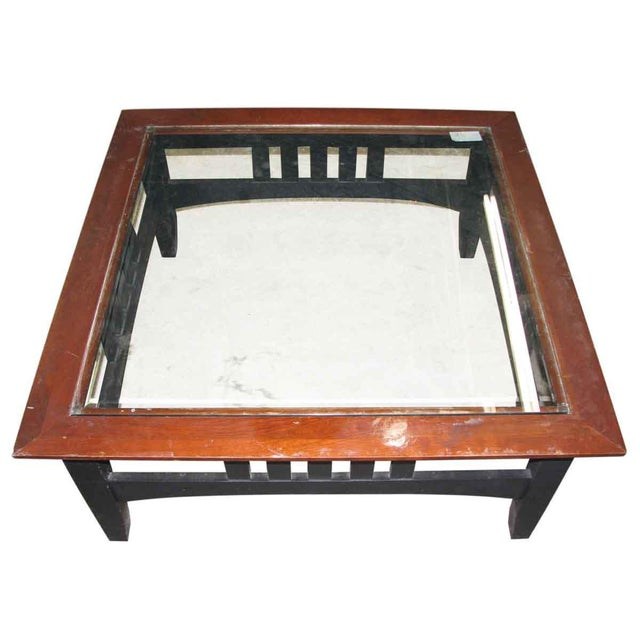 Vintage Square Glass Top Coffee Table For Sale - Image 5 of 6