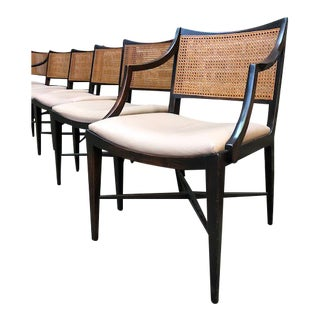 Vintage Set of Six Edward Wormley Cane and Rosewood Dining Chairs For Sale