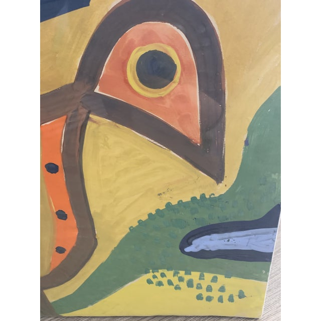 This is a G. L. Long painting from 1964 featuring an orange brown and yellow bird-like animal upon a blue, green, brown,...