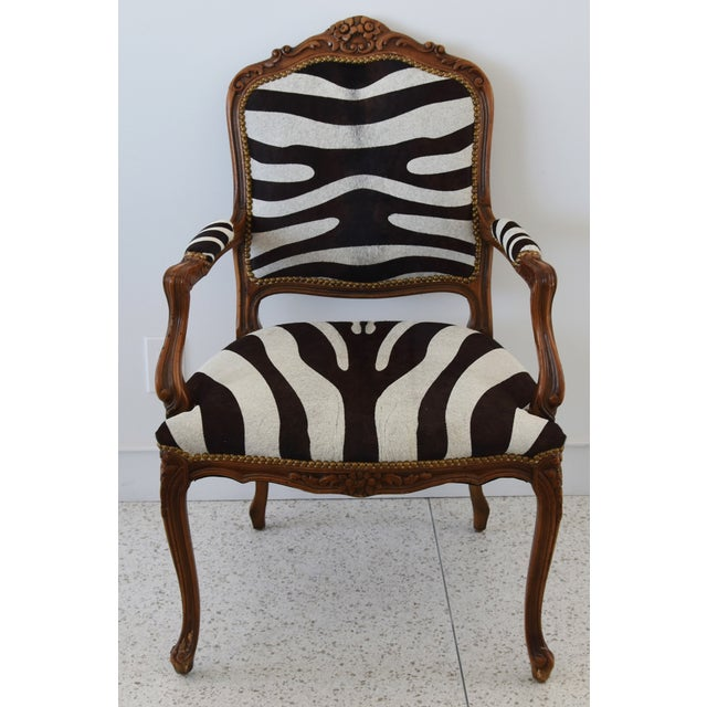 Abstract 1950s Carved Hardwood & Tiger Cowhide Upholstered Armchair For Sale - Image 3 of 13