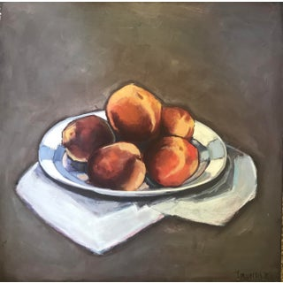 """Peaches"" Contemporary Still Life Painting by Sarah Trundle For Sale"