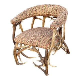 Antique Rustic Cabin Antler Barrel Chair For Sale
