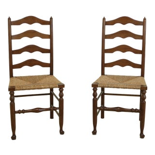 Pair Stickley Cherry Rush Seat Ladder Back Side Chairs For Sale