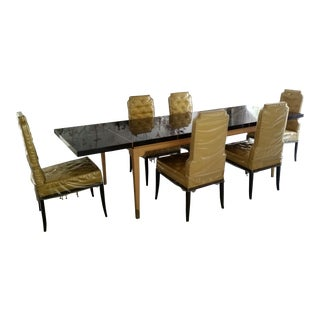 1950s Tommi Parzinger Modern Ebony and Parquetry Inlaid Dining Table & Chairs