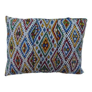 Vintage Moroccan Colorful Diamonds Wool Pillow For Sale