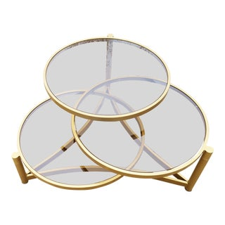 Milo Baughman Tri Level Gold and Glass Swivel Coffee Table