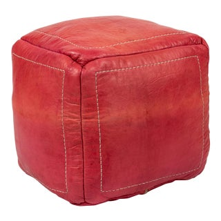 Pink Leather Square Pouf For Sale