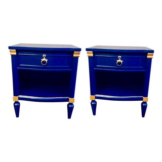 Bassett Lapis Blue & Gold Side Tables - a Pair For Sale