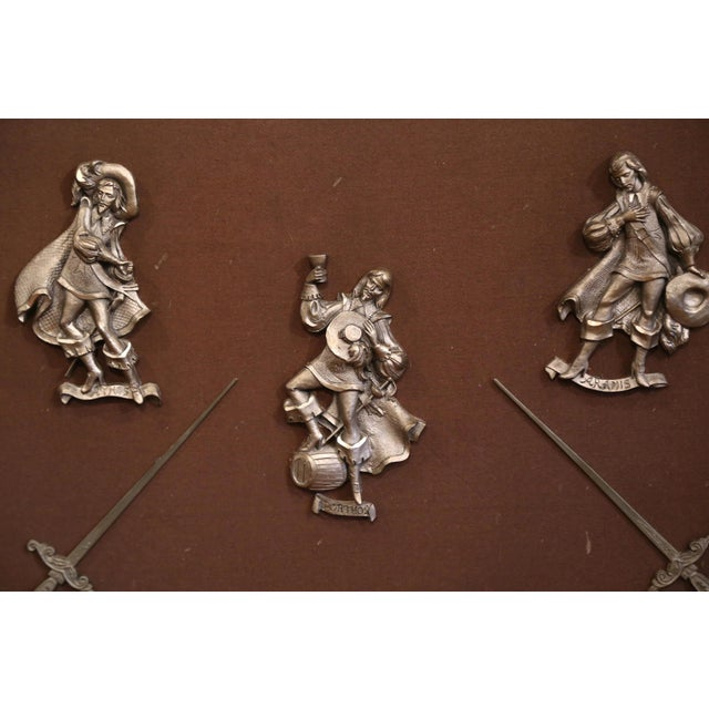 19th Century French Framed Four Musketeers and Swords Display Metal Figures For Sale - Image 4 of 9