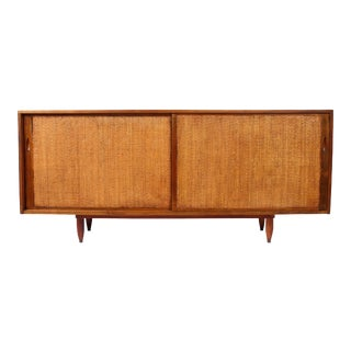 Phillip Lloyd Powell Walnut and Split Reed Credenza, 1950's For Sale
