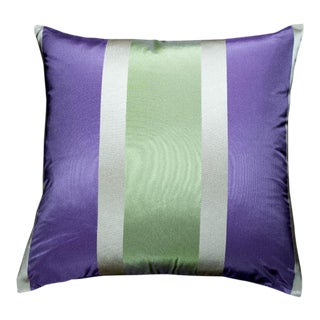 Belair-Bright Lavender and Green Striped Silk Dupioni Pillow For Sale