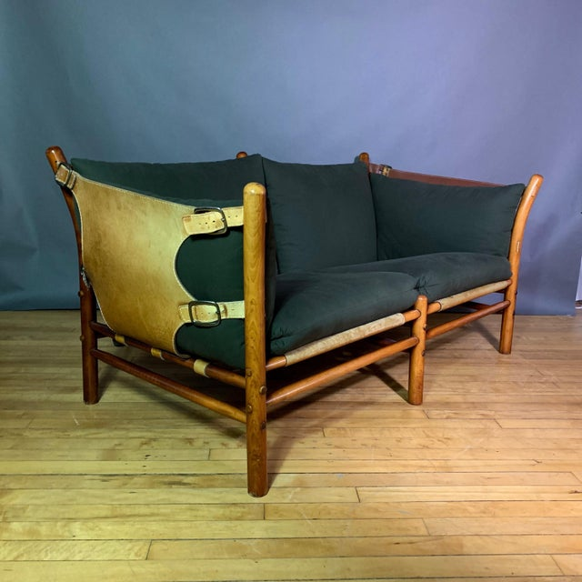 """Arne Norell """"Ilona"""" Leather and Cotton Sofa, Sweden 1970s For Sale - Image 13 of 13"""