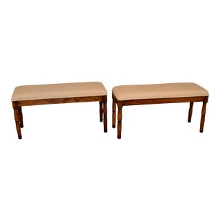19th C Pair of English Upholstered Benches For Sale