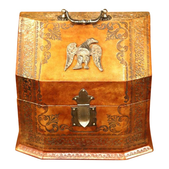 Mid-20th Century Italian Leather & Tooling Letter Holder For Sale
