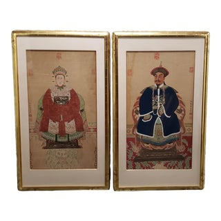 Late 19th Century Chinese Ancestors Paintings - a Pair For Sale