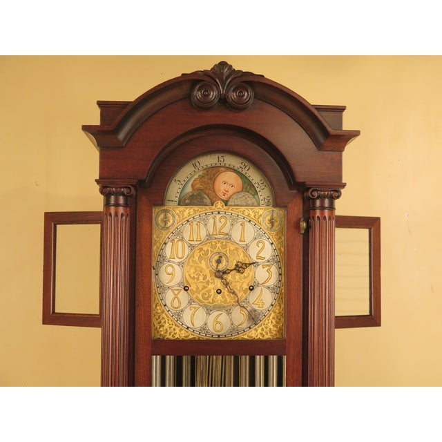 Vintage Jacques II Tube Mahogany Grandfather Clock For Sale - Image 5 of 11