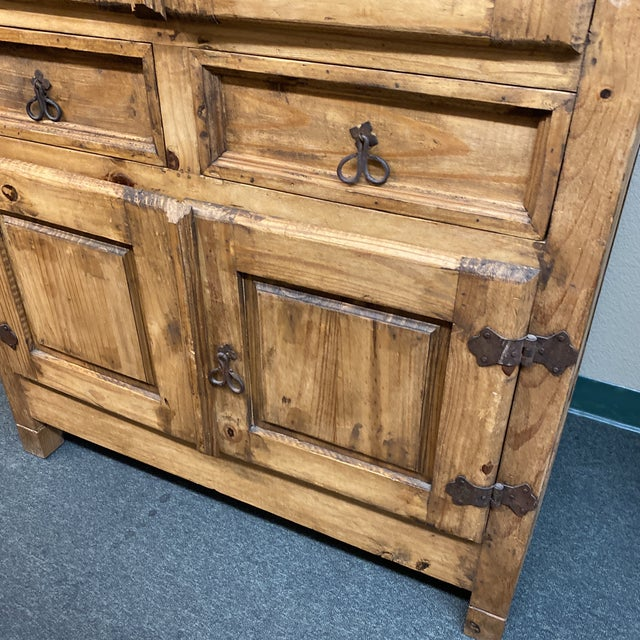 Wood Late 20th Century Rustic Pine Armoire For Sale - Image 7 of 13