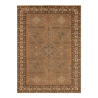 Vintage Distressed Over Dyed Color Reform Evelyne Brown/Ivory Wool Rug -8'1 X 11'5