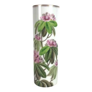"""Large Mid Century Hand Painted """"Peony"""" Vase"""