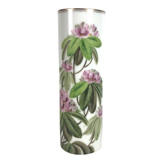 Mid Century Cylindrical Large Vase With Pink Peony Flowers For Sale