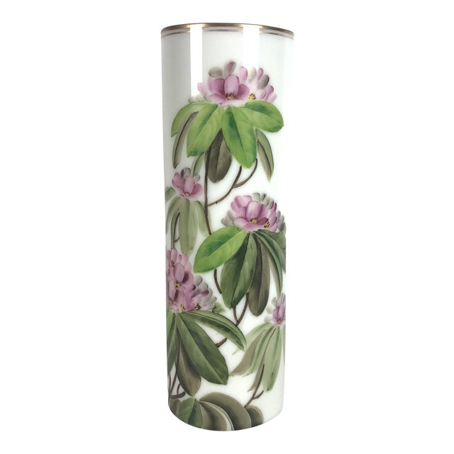 Mid Century Cylindrical Large Vase With Pink Peony Flowers Chairish