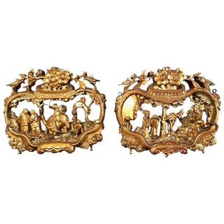19th Century Antique Gump's San Francisco Qing Chinese Gilded Carvings - a Pair For Sale
