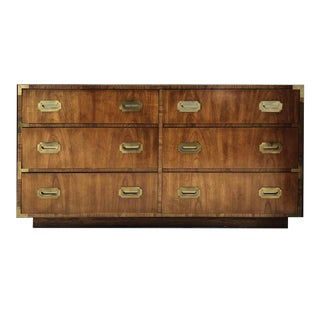 1960s Dixie Campaign 6 Drawer Lowboy For Sale