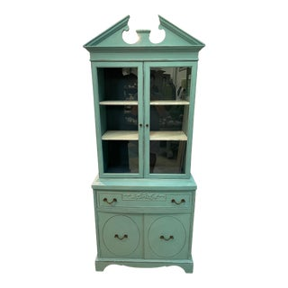 Antique American Classical Painted Blue China Cabinet For Sale