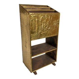 English Brass Magazine Newspaper Rack Stand For Sale