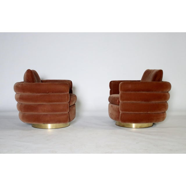Mid-Century Modern Milo Baughman Thayer Coggin Swivel Chairs - a Pair For Sale - Image 3 of 8