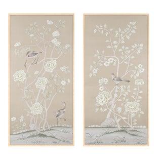 "Simon Paul Scott for Jardins en Fleur ""Donnington"" Chinoiserie Diptych Paintings on Silk - 2 Pieces For Sale"