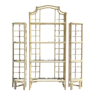 Three Piece Rattan Pagoda Etagere