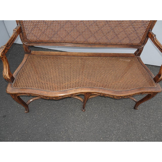 Vintage Martin of London French Country Brown Ornately Carved Cane Settee For Sale - Image 9 of 13