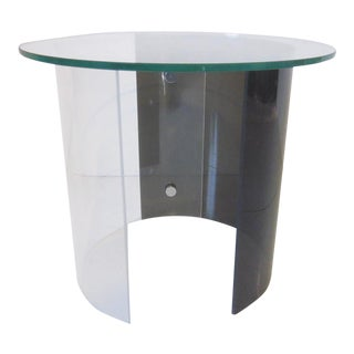 1970s Lucite Side Table With Glass Top For Sale
