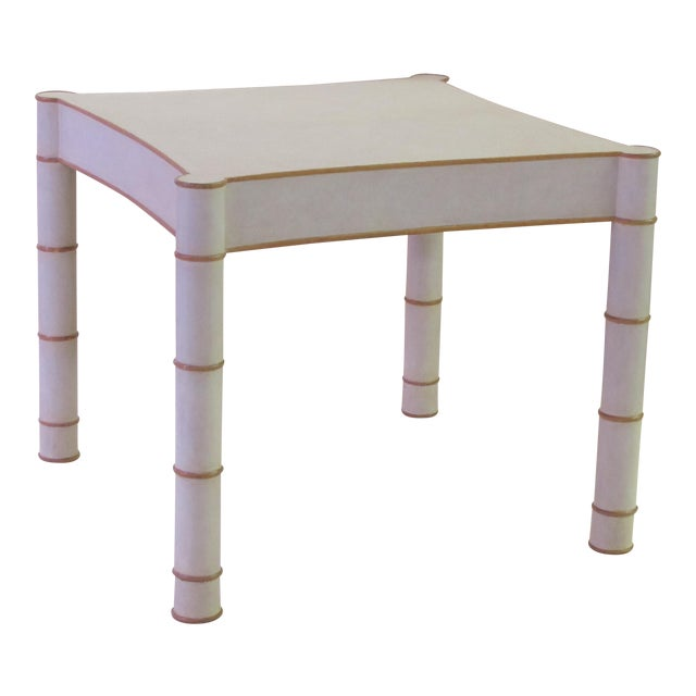 A Stylish American 1970's Karl Springer Style Parchment-Veneered Faux Bamboo Game Table For Sale