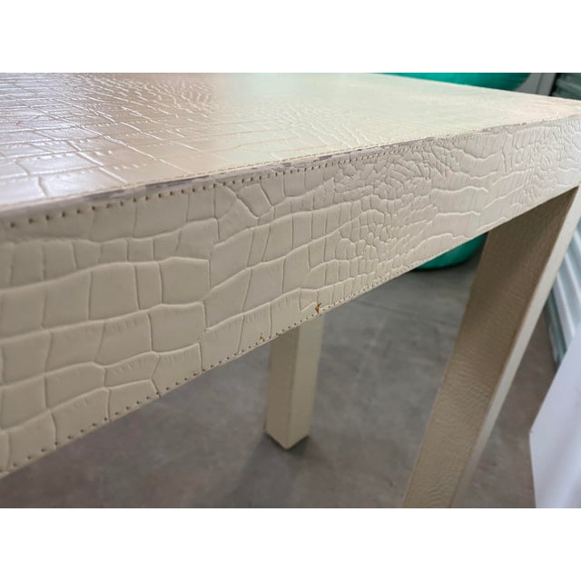 Contemporary Karl Springer Style White Crocodile Embossed Leather Console Table For Sale - Image 3 of 5
