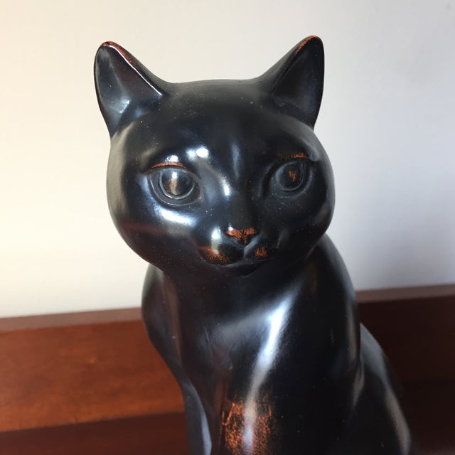 1980s Fitz and Floyd Vintage Ceramic Hand Painted Black Cat Figural For Sale - Image 5 of 8