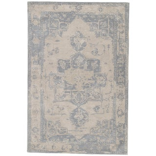 Jaipur Living Wallace Handmade Medallion Beige & Blue Area Rug - 2′ × 3′ For Sale