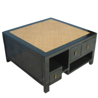 Square Rattan Top Coffee Table For Sale
