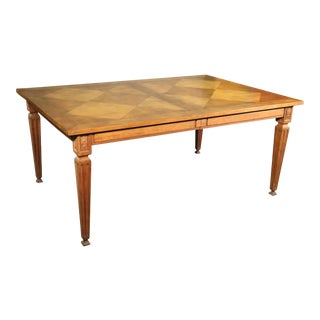 Cherry Baker French Louis XVI Style Marquetry Dining Table With Two Leaves C1960 For Sale