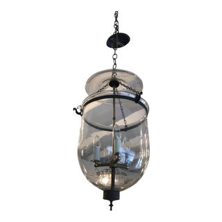 Mid 19th Century Antique Traditional Hurricane Style Foyer Lantern Chandelier For Sale